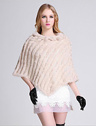 Women's Going out / Casual/Daily Vintage / Simple Regular Cloak / Capes,Solid Beige Round Neck Sleeveless Rabbit Fur / Faux FurFall /