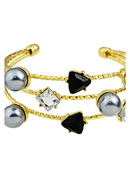 Fashion Imitation Pearl Rhinestone Wide Cuff Bangles