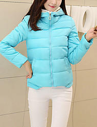 Women's Regular Padded Coat,Simple Casual/Daily Solid-Polyester Cotton Long Sleeve Hooded Multi-color