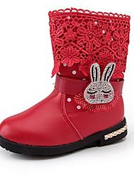 Mädchen-Stiefel-Lässig-PU-Flacher Absatz-Komfort-Schwarz Rosa Rot