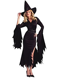 Cosplay Kostüme / Party Kostüme Zauberer/Hexe Fest/Feiertage Halloween Kostüme Schwarz einfarbig Kleid / Mützen Halloween / Karneval Frau