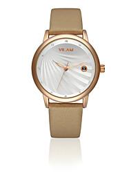 VILAM® Women's Fashion Leather Clock Imitation Diamond Waterproof Calendar Female dress Quartz Wrist Watch
