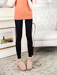 Women Solid Color Fleece Lined Legging,Core Spun Yarn