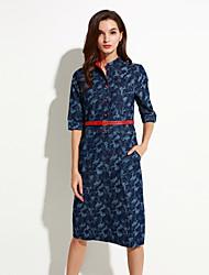 Women's Simple / Street chic Print Plus Size / Sheath Dress,Stand Midi Cotton / Polyester
