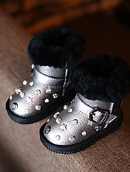 Girl's Boots Comfort Leatherette Casual Black Silver