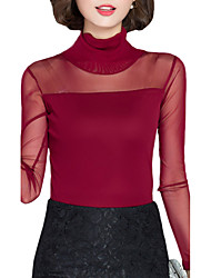 Fall Women Clothing Tops Turtleneck Long Sleeve Slim Was Thin Lace Net yarn Casual Temperament Womens Tops