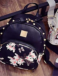 Women PU Casual Backpack White / Pink / Black