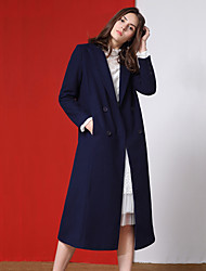 ARKMIIDO Women's Going out Simple CoatSolid Notch Lapel Long Sleeve Winter Blue Acrylic / Polyester Medium