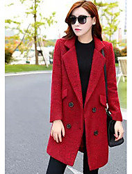Women's Casual/Daily Simple Trench Coat,Solid Long Sleeve Winter Red / White Wool