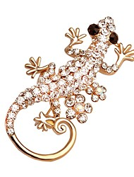 Hot Shining Crystal Gecko Shape Brooch