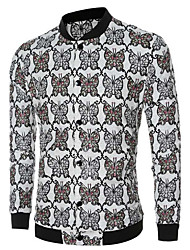 Men's Going out / Casual/Daily Simple JacketsSolid / Floral / Print Stand Long Sleeve Spring / Fall hot sale