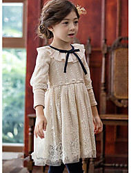 Girl's Casual/Daily Solid DressCotton Fall Pink / Beige