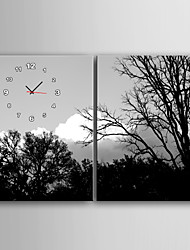 E-HOME®Trees And The Sky Flower Clock in Canvas 2pcs