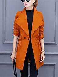 Женский На каждый день Однотонный Тренч Лацкан с тупым углом,Уличный стиль Осень Зима Красный Черный Оранжевый Длинный рукав,Полиэстер,