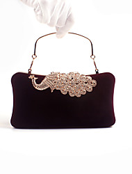 Women Velvet Poly urethane Formal Event Party Office Career Evening Bag Peacock Diamonds Flannelette Clutch Handbags