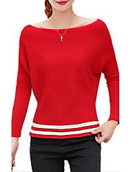 Damen Standard Pullover-Ausgehen / Lässig/Alltäglich Einfach / Street Schick Gestreift Rot / Weiß / Grün / Lila Bateau LangarmBaumwolle /