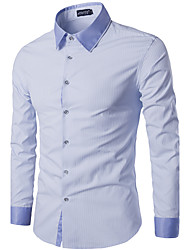 Men's Casual/Daily Simple Shirt,Striped Classic Collar Long Sleeve Blue Cotton