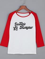 Damen Buchstabe Street Schick Lässig/Alltäglich T-shirt,Rundhalsausschnitt Herbst Langarm Rot Baumwolle Mittel
