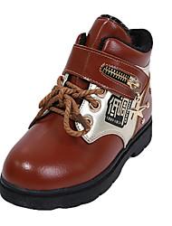 Boy's Boots Fall Winter Comfort Cowhide Casual Flat Heel Magic Tape Black Red Orange Walking