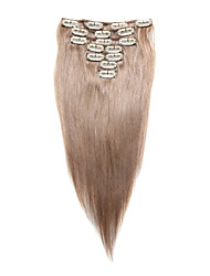 7 Pcs/Set Clip In Hair Extensions Beige Blonde 14Inch  18Inch 100% Human Hair For Women