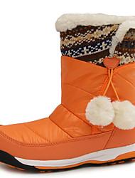 Girl's Boots Winter Comfort Fur Outdoor Casual Flat Heel Pom-pom Brown Red Orange Hiking Walking