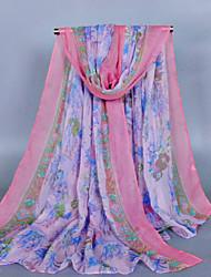 Women's Fashion Voile Flowers Print Cotton Vintage Scarf Green/Purple/Khaki/Blue/Royal Blue/Pink/Gray