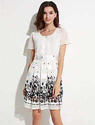 Women's Casual/Daily Plus Size Dress,Floral Bow Mini Short Sleeve White Polyester Summer