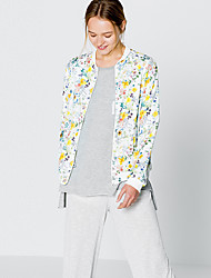 Women's Going out Cute Jackets,Floral Stand Long Sleeve Fall White Polyester Medium