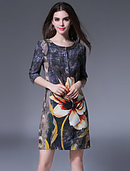 1287 Women's Going out / Casual/Daily Simple A Line DressFloral Round Neck Mini  Length Sleeve Multi-color Cotton