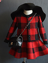 Girl's Going out Check Dress / Clothing SetAcrylic Spring / Fall Black / Red