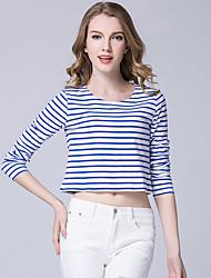 Damen Gestreift Einfach / Street Schick Lässig/Alltäglich T-shirt,Rundhalsausschnitt Frühling / Herbst Langarm Blau / Rot / Weiß / Schwarz
