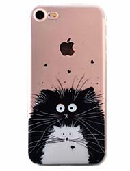 Для Кейс для iPhone 7 / Кейс для iPhone 6 / Кейс для iPhone 5 Ультратонкий / С узором Кейс для Задняя крышка Кейс для Кот Мягкий TPU Apple