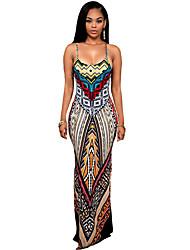 Women's Spaghetti Strap Multi-color Ethnic Print Backless Maxi Dress