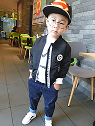 Boy's Casual/Daily Print Jacket & CoatCotton Fall Black / Red