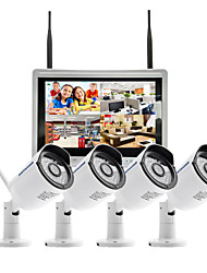 Szsinocam 4CH 720P 12.5LCD NVR 4PCS 1.0MP IR Outdoor P2P Wireless IP CCTV Camera Security System Surveillance Kit