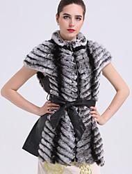 BF-Fur Style  Women's Casual/Daily Simple Fur CoatColor Block Turtleneck Short Sleeve Winter Gray Wool / Rex Rabbit Fur