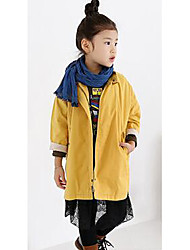Girl's Casual/Daily Solid Trench CoatCotton Fall Pink / Yellow
