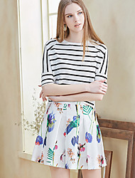 I'HAPPY  Women's Solid / Floral Black SkirtsSimple Above Knee