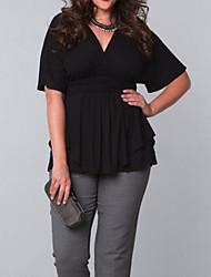 Tee-shirt Femme,Couleur Pleine Grandes Tailles / Décontracté / Quotidien Sexy / simple Printemps / Automne Manches Courtes V ProfondBlanc