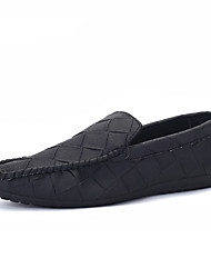 Men's Loafers & Slip-Ons Summer Fall Moccasin PU Casual Flat Heel Black Gray Green