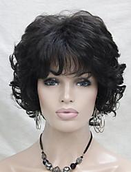 novo ondulado encaracolado castanho médio peruca 4 # curtas cabelo sintético das mulheres completas para todos os dias