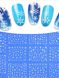 11PCS Designs Mixed White Snow Flower Christmas Beauty Tips Nail Stickers