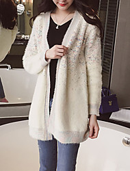 Women's Casual/Daily Simple Long Cloak /  Beige Round Neck Long Sleeve Polyester Spring / Fall Micro-elastic