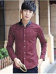 Hombre Simple Casual/Diario Otoño Camisa,Escote Chino A Rayas Manga Larga Algodón Rojo / Blanco Medio