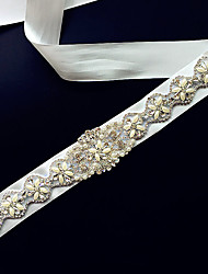 Satin Wedding Sash-Appliques / Pearls Women's 98 ½in(250cm) Appliques / Pearls