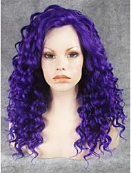 imstyle 20''cheap cosplay roxo rendas frente perucas sintéticas Cacheado Medio resistentes calor elevado