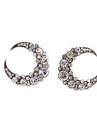 European Style Luxury Gem Geometric Earrrings Moon Stud Earrings for Women Fashion Jewelry Best Gift