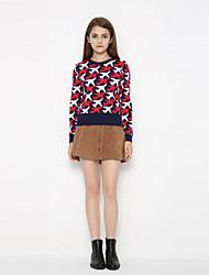 Damen Standard Pullover-Ausgehen Lässig/Alltäglich Einfach Niedlich Druck Mehrfarbig Rundhalsausschnitt Langarm Kaschmir Herbst Winter
