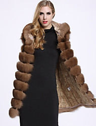 BF-Fur Style   Women's Casual/Daily Sophisticated Fur CoatSolid Hooded Sleeveless Winter Brown Fox Fur