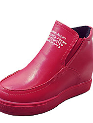 Women's Boots Fall / Winter Comfort PU Casual Flat Heel Slip-on Black / Red / Ivory / Gray Others